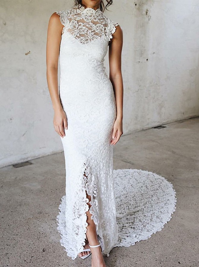 Sheath High Neck Sweep Train White Lace Wedding Dress with Split