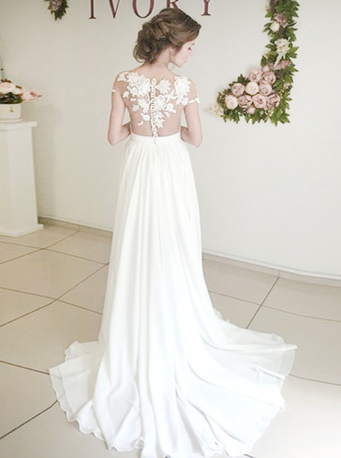 Beach Sheath Round Neck Sweep Train Wedding Dress with Appliques Split