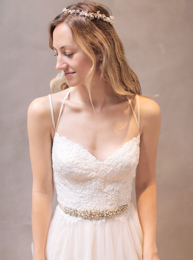 Boho A-Line Spaghetti Straps Court Train Wedding Dress with Lace Beading