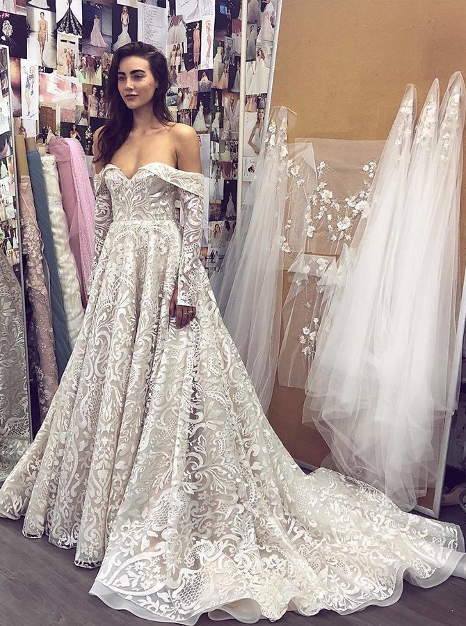 A-Line Off-the-Shoulder Court Train White Lace Wedding Dress with Long Sleeves