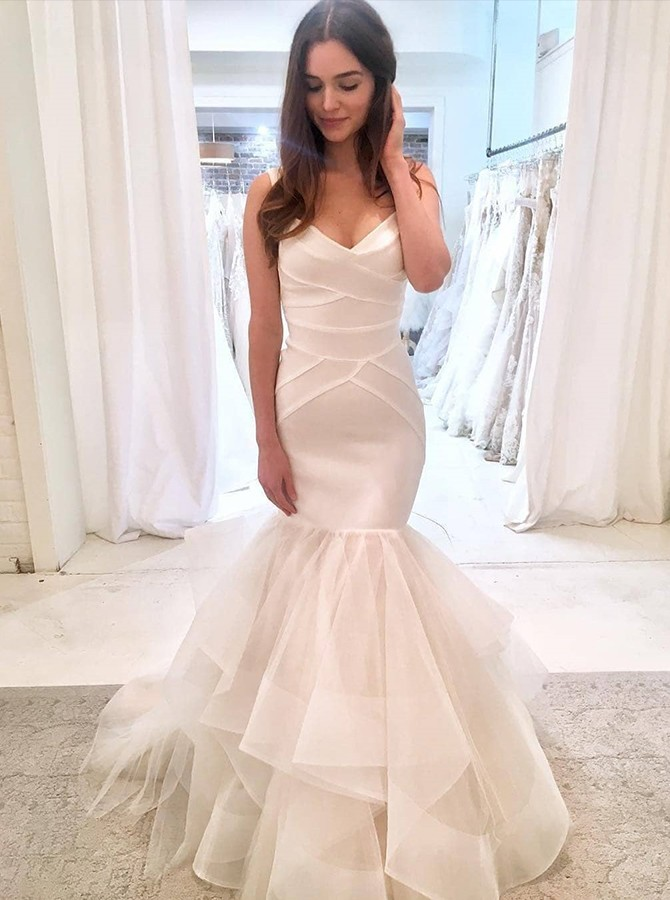 Mermaid Straps Floor-Length White Sleeves Tulle Wedding Dress