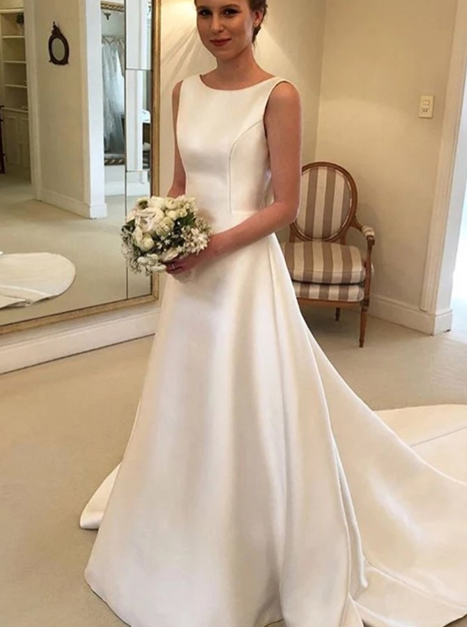 A-Line Bateau Sweep Train Satin Wedding Dress