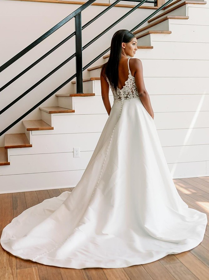 Fancy Spaghetti Straps Sweep Train Wedding Dress with Pockets