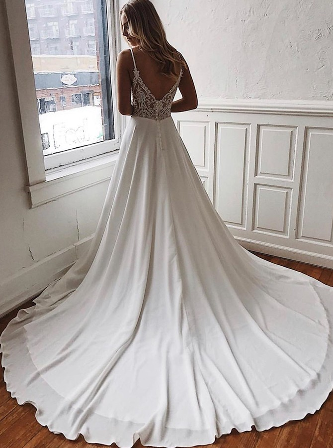 Chic Spaghetti Straps Sweep Train Chiffon Beach Wedding Dress