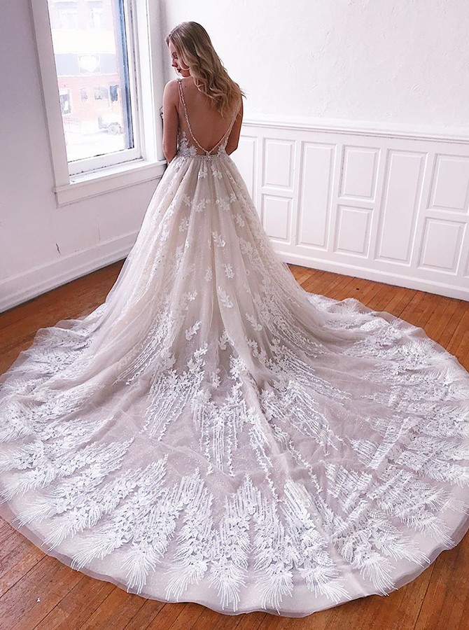 Gorgeous V-neck Court Train Sleeveless Backless Wedding Dress with Appliques