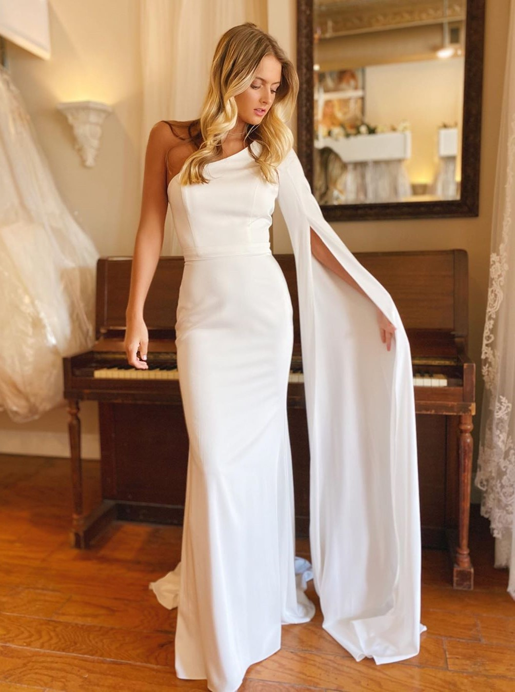Modest One Shoulder Long Sleeves Tight Wedding Dress with Sweep Train