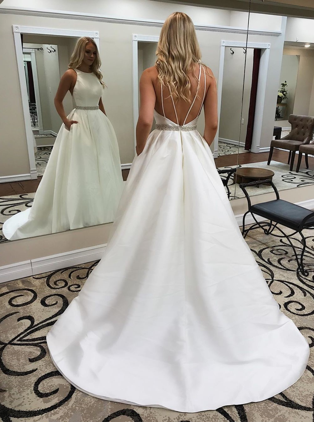 Elegant Jewel Sleeveless Sweep Train Wedding Dress with Pockets Beading