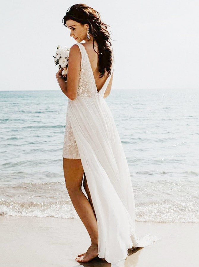 A-Line V-Neck Long Sequins Sleeveless White Wedding Dress