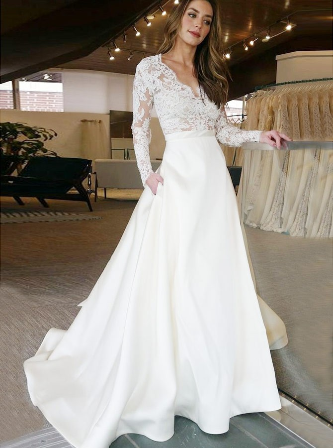 A-Line V-Neck Lace Long Sleeves Satin Wedding Dress with Pockets
