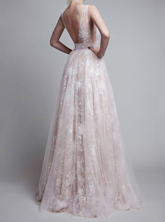 A-Line Deep V-Neck Long Backless Champagne Tulle Prom Dress with Lace