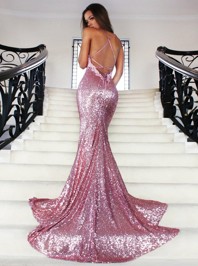 Mermaid Spaghetti Straps Sweep Train Rose Pink Sequined Prom Dress with Lace