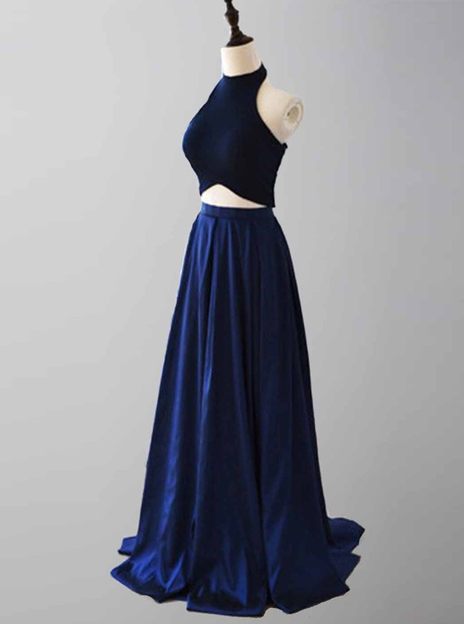 Two Piece Halter Floor-Length Royal Blue Satin Prom Dress