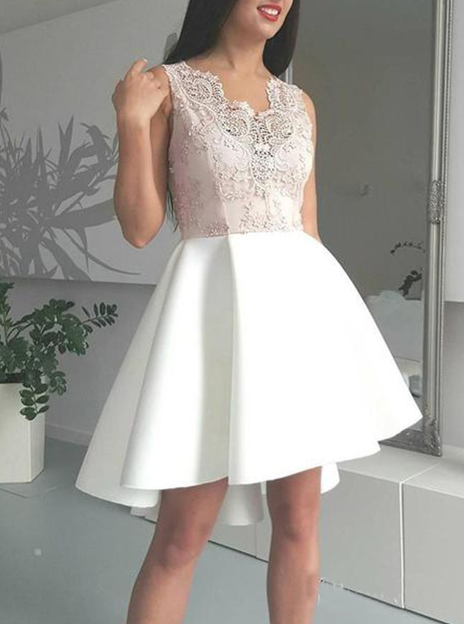 A-Line V-Neck High Low Homecoming Dress White Party Dress with Appliques