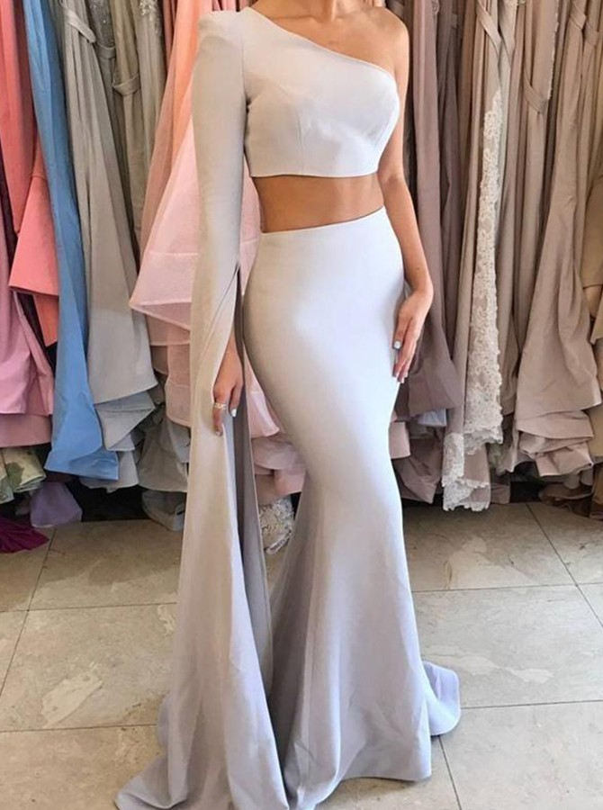 Two Piece One-Shoulder Long Sleeves Floor Length Grey Prom Dress