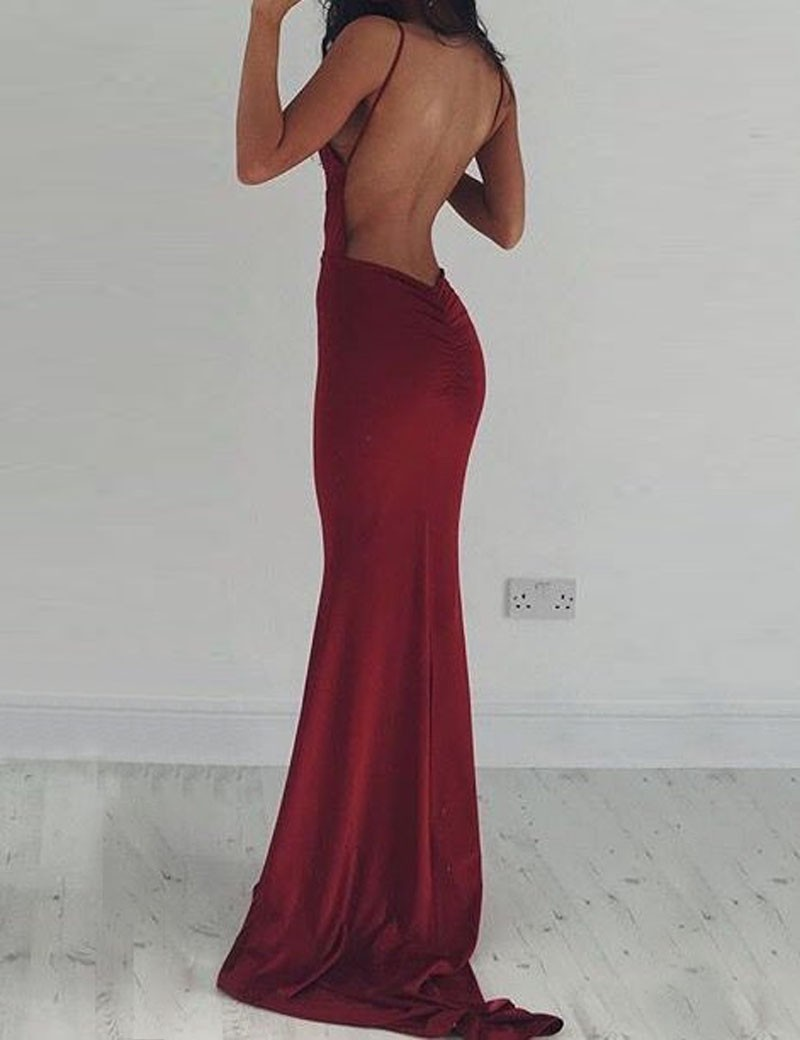 Mermaid Deep V-Neck Backless Sweep Train Burgundy Prom Dress