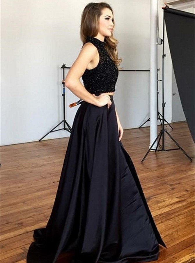 Two Piece Round Neck Sweep Train Black Satin Prom Dress with Sequins