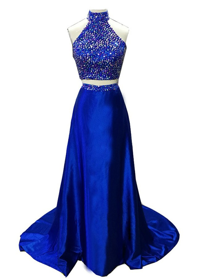 Two Piece High Neck Open Back Sweep Train Prom Dress with Beading
