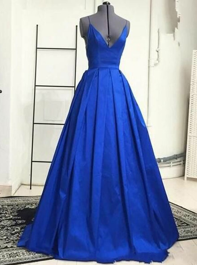A-Line V-Neck Floor-Length Criss-Cross Straps Royal Blue Prom Dress