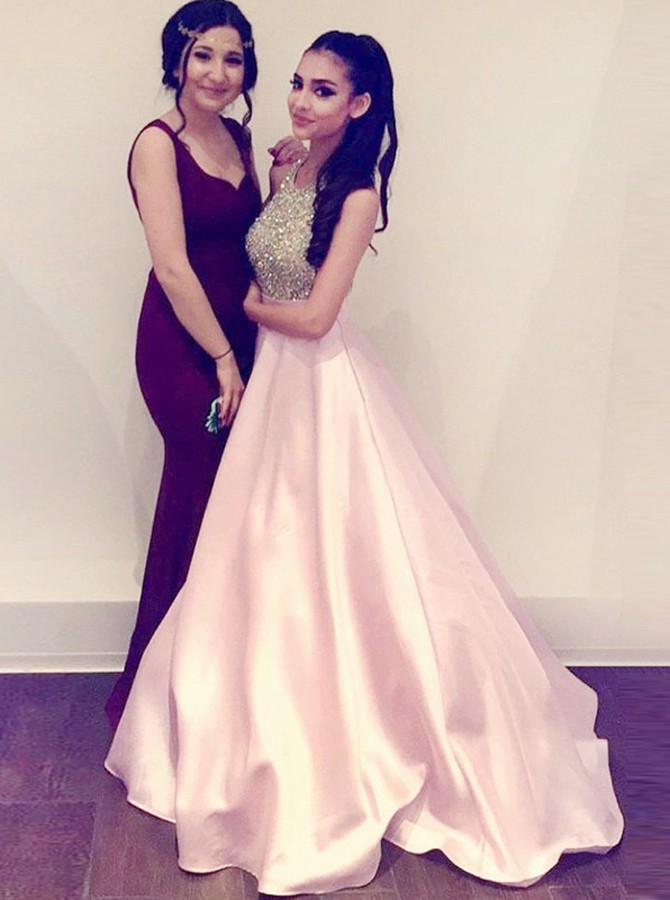 A-Line Halter Backless Sweep Train Pink Satin Prom Dress with Beading