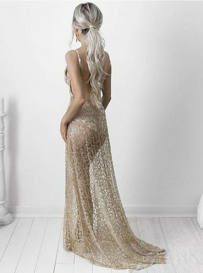 A-Line Spaghetti Straps Sweep Train Champagne Lace Prom Dress