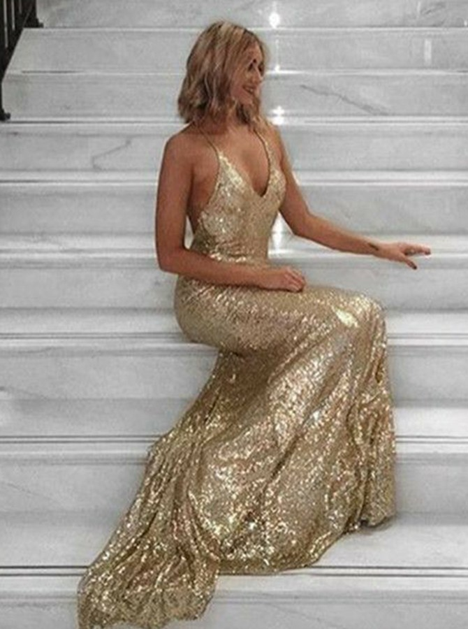 Mermaid Spaghetti Straps Backless Gold Prom Dress with Sequins