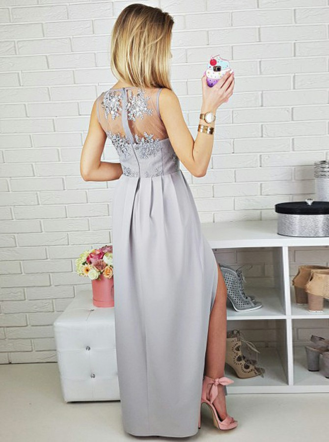 A-Line V-Neck Floor-Length Grey Prom Dress with Appliques