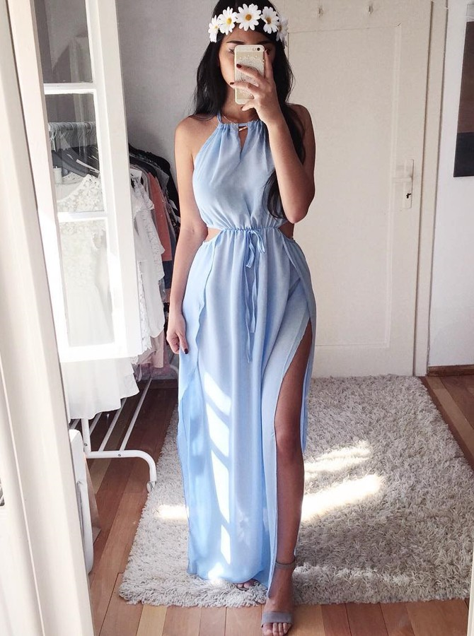 A-Line Crew Floor-Length Light Blue Chiffon Prom Dress with Split
