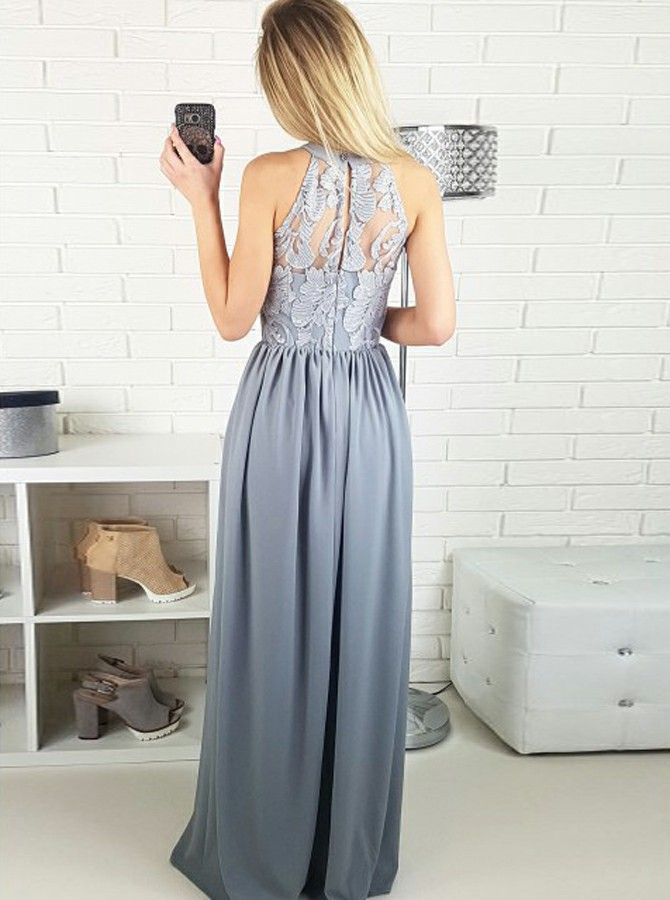 A-Line Jewel Floor-Length Grey Chiffon Prom Dress with Lace