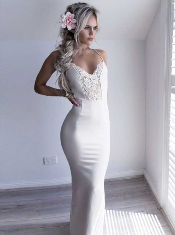 Mermaid Spaghetti Straps Floor-Length Ivory Prom Dress with Lace