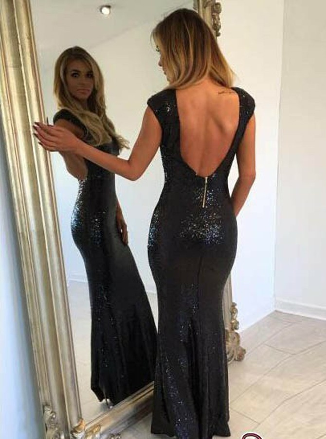 Mermaid Bateau Backless Floor-Length Black Sequined Prom Dress