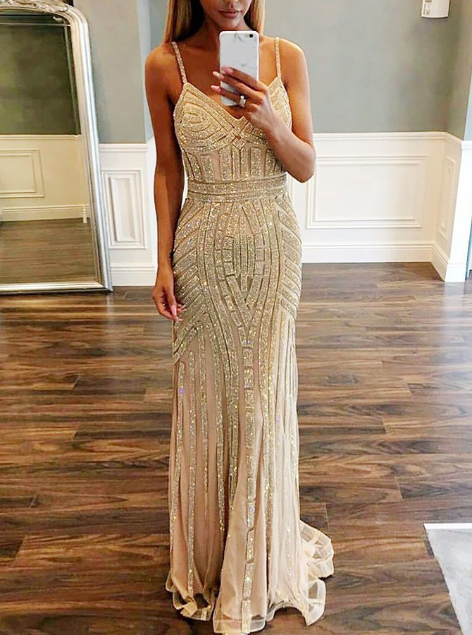 Mermaid Spaghetti Straps Sweep Train Champagne Stretch Satin Prom Dress WIth Beading
