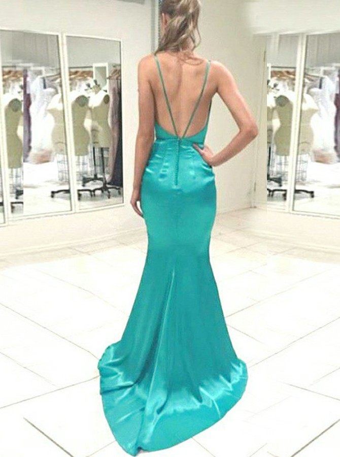 Mermaid Deep V-Neck Backless Sweep Train Turquoise Prom Dress