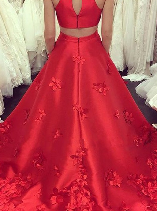A-Line Jewel Open Back Long Red Satin Prom Dress with Appliques Pockets