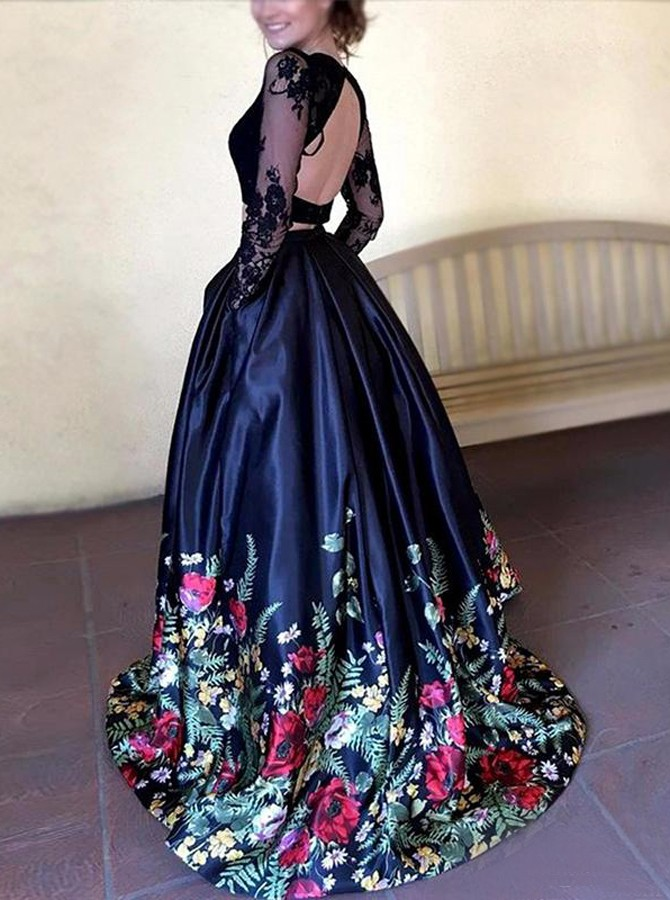 Two Piece Round Neck Long Sleeves Black Floral Satin Prom Dress with Lace