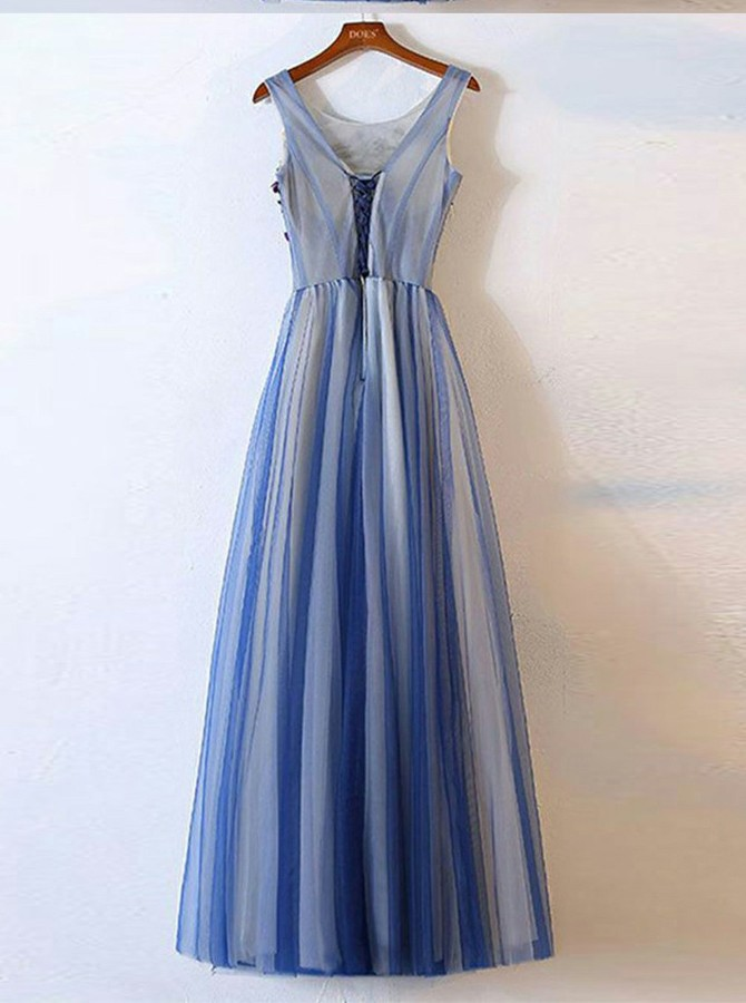 A-Line Round Neck Floor-Length Blue Prom Dress with Appliques