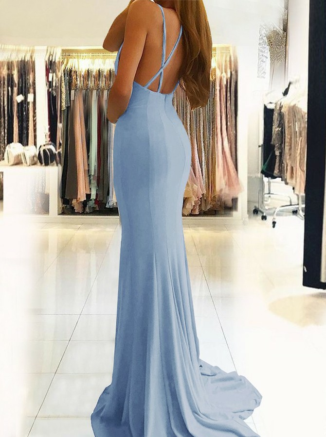 Mermaid V-Neck Backless Sweep Train Blue Prom Dress with Split