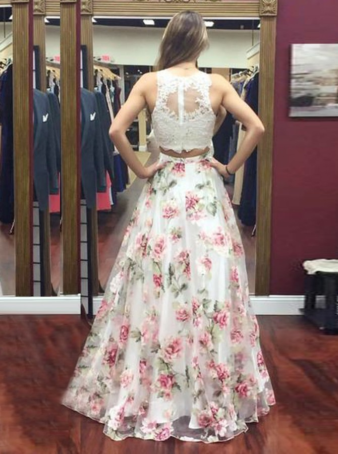 Two Piece Round Neck Floral Organza Prom Dress with Appliques