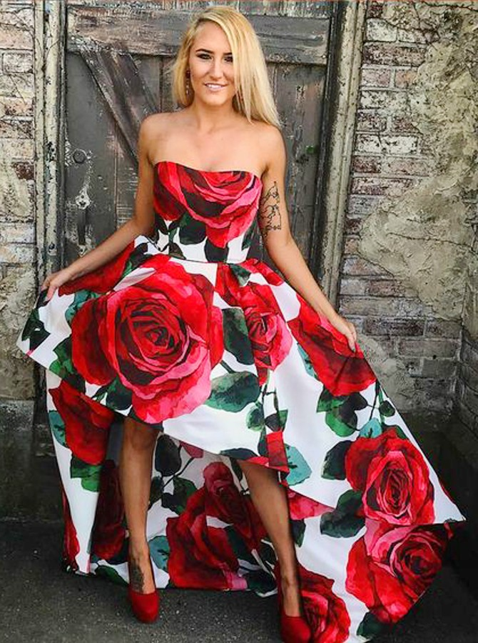 A-Line Sweetheart High Low Red Rose Floral Satin Prom Dress