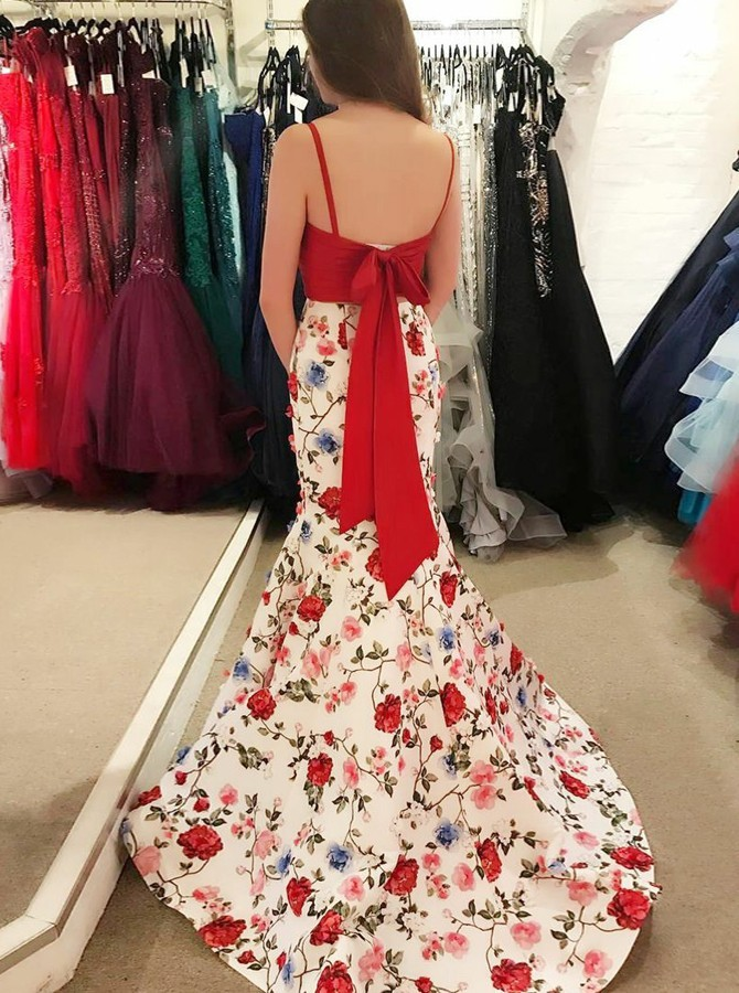 Two Piece Spaghetti Straps Backless Sweep Train White Printed Prom Dress