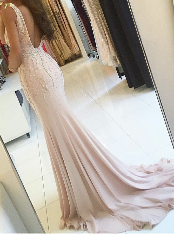 Sheath V-Neck Split Pearl Pink Backless Prom Dress with Beading