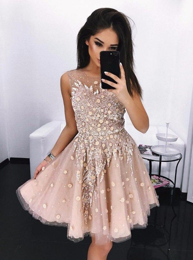 A-Line Round Neck Above-Knee Pink Prom Homecoming Dress with Appliques Beading