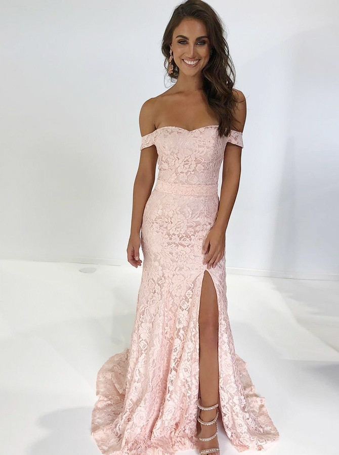 Mermaid Off Shoulder Pink Split Lace Prom Dress Sweep Train
