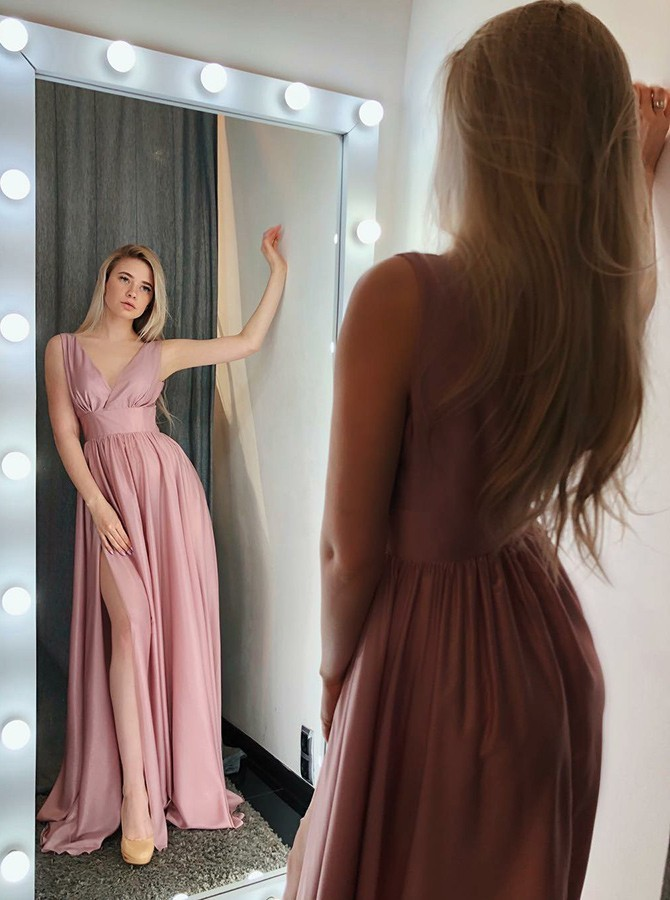 A-Line V-Neck Sweep Train Pink Prom Dress with Pleats Split