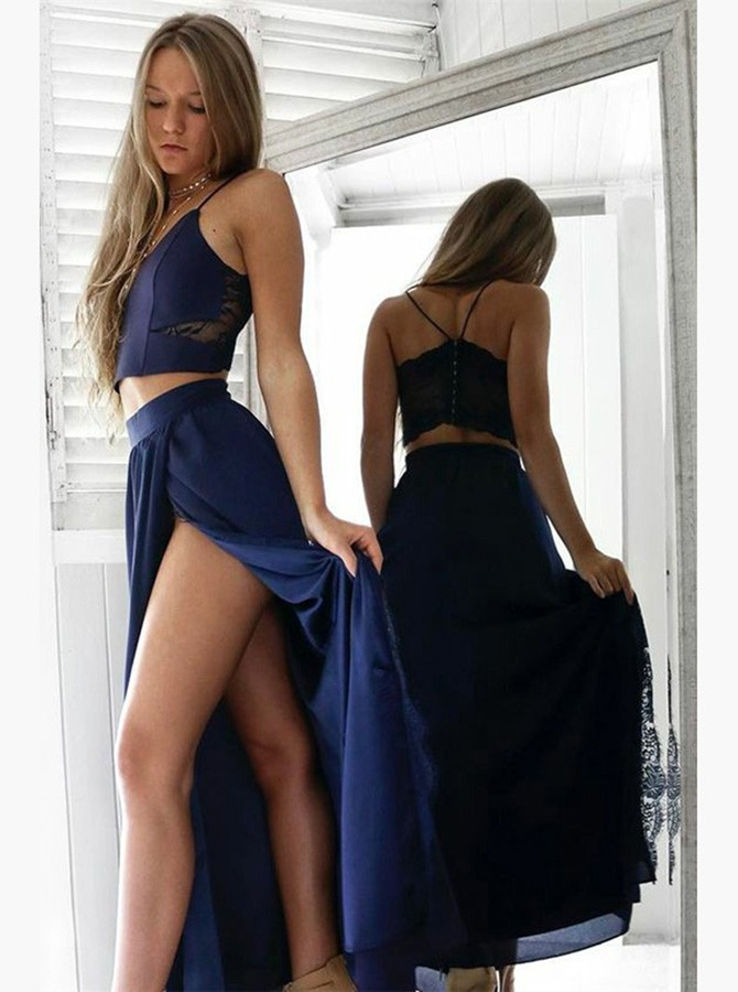 Two Piece Spaghetti Straps Navy Blue Long Prom Dress with Lace Split