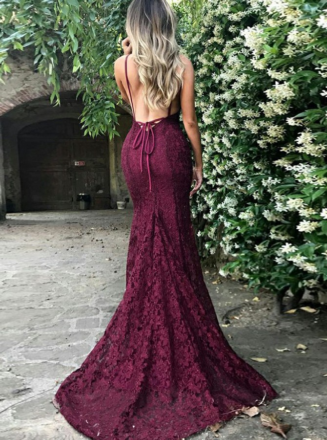 Mermaid Spaghetti Straps Backless Sweep Train Burgundy Lace Prom Dress