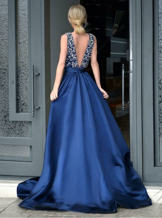 A-Line V-Neck Floor-Length Backless Prom Dress with Beading