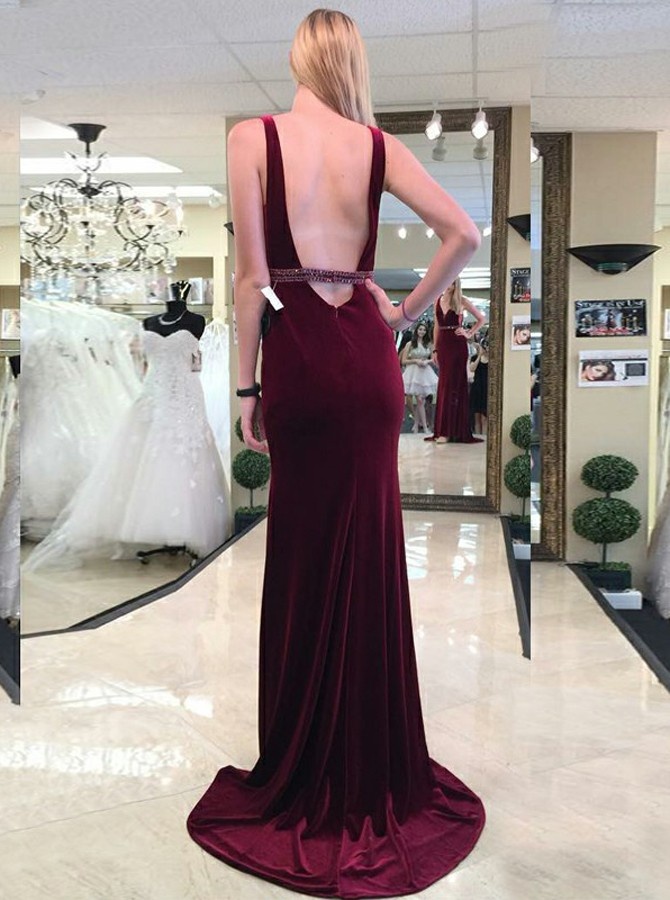 Sheath V-Neck Floor-Length Burgundy Velet Prom Dress with Beading