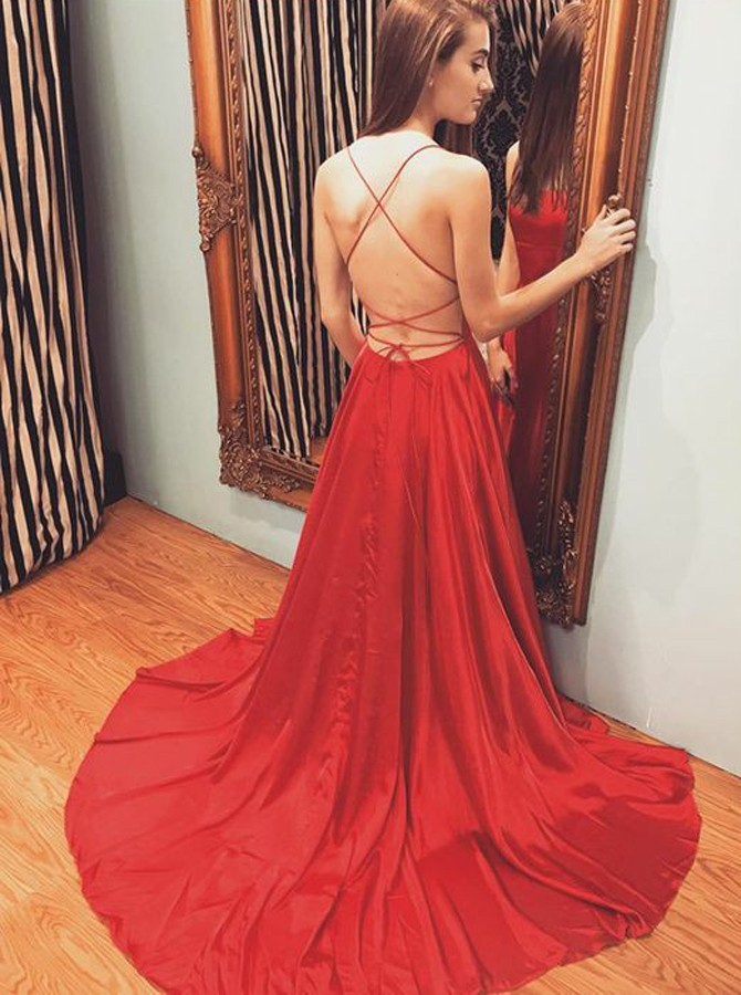 A-Line Spaghetti Straps Backless Sweep Train Red Prom Dress with Split