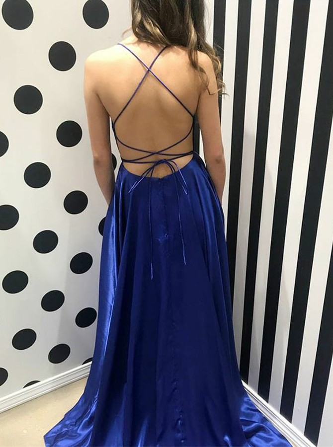 A-Line Spaghetti Straps Backless Sweep Train Royal Blue Prom Dress with Split