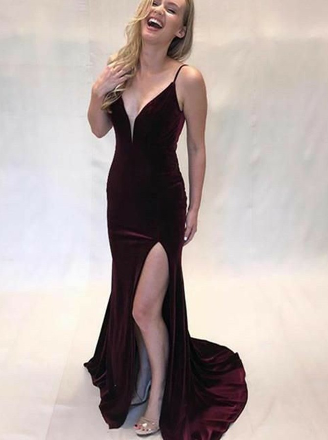 Mermaid Spaghetti Straps Sweep Train Wine Velvet Prom Dress with Split